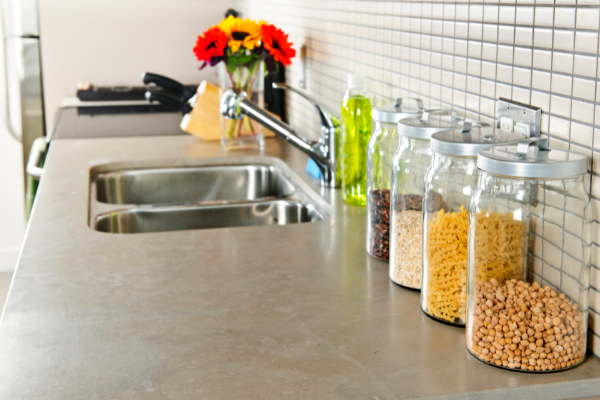 Storage containers on a counter in a kitchen